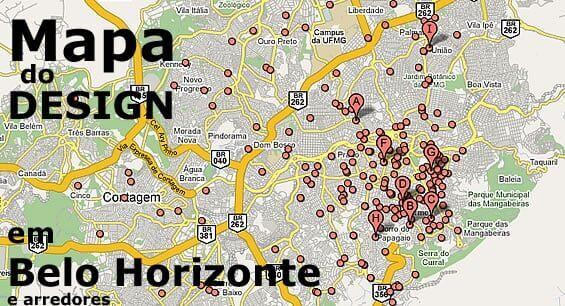 Mapa do Design em Belo Horizonte e arredores
