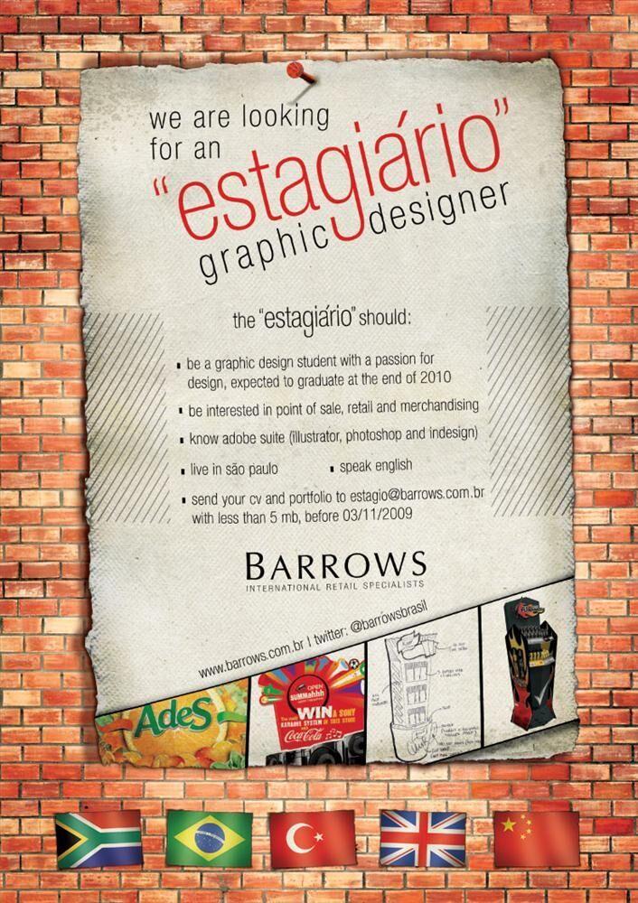 Estagio – design grafico – Barrows – SP