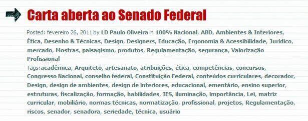 Carta aberta ao Senado Federal sobre Regulamentação do Design