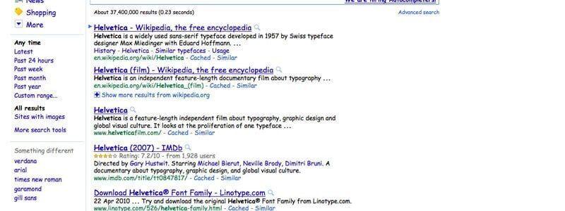 Google brinca com Helvetica