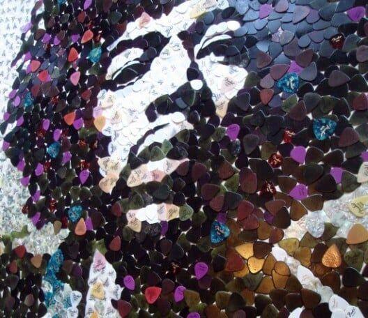 Jimi Hendrix e seu mosaico de palhetas