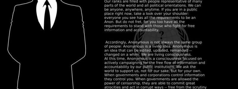 Uma carta de Anonymous, grupo hacker que defende o WikiLeaks